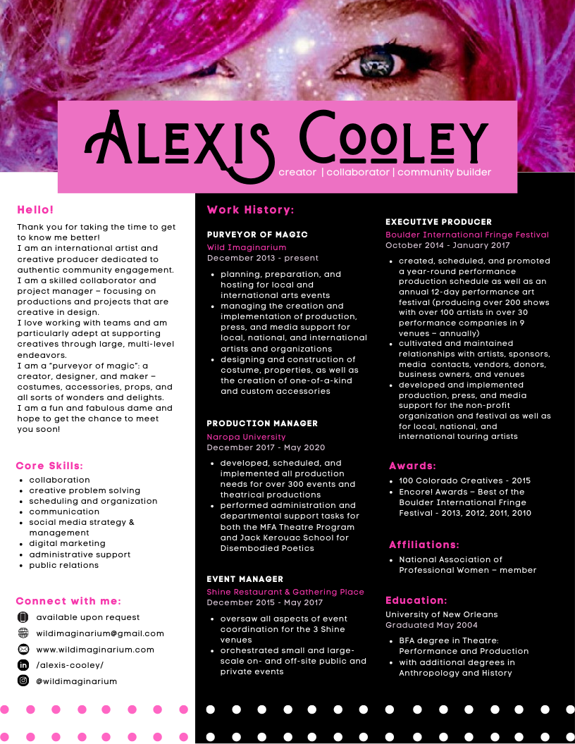the resume of Alexis Cooley - creator   collaborator   community builder